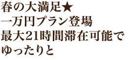 春の大満足★一万円プラン登場最大21時間滞在可能でゆったりと