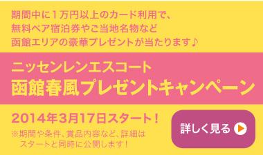 ニッセンレンエスコート函館春風プレゼントキャンペーン