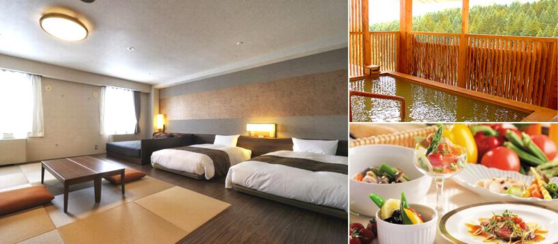 ホテルニセコアルペンの客室、温泉、料理のイメージ
