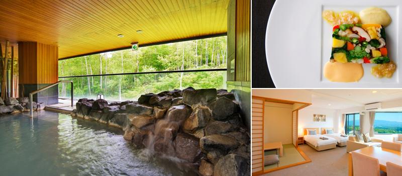 ワン・ニセコ・リゾート・タワーズの温泉・料理・客室の一例