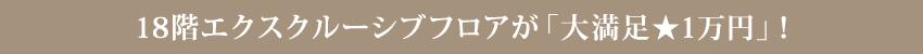 エクスクルーシブフロアが大満足1万円
