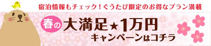 宿泊情報もチェック!春の大満足1万円キャンペーンはこちら
