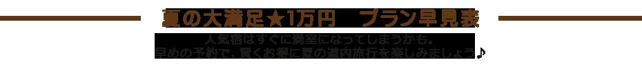 夏の大満足1万円プラン早見表