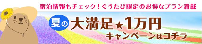 宿泊情報もチェック!夏の大満足1万円キャンペーンはこちら