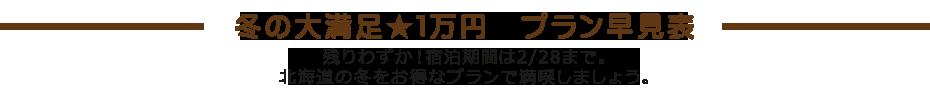 冬の大満足1万円プラン早見表